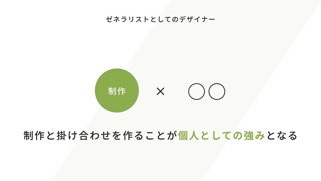 制作 × ○○ 制作 ゼネラリストとしてのデザイナー 制作と掛け合わせを作ることが個人としての...