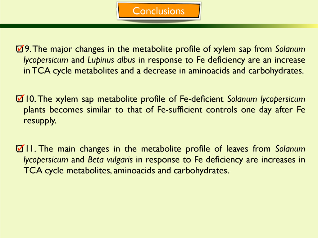 Conclusions 9. The major changes in the metabol...