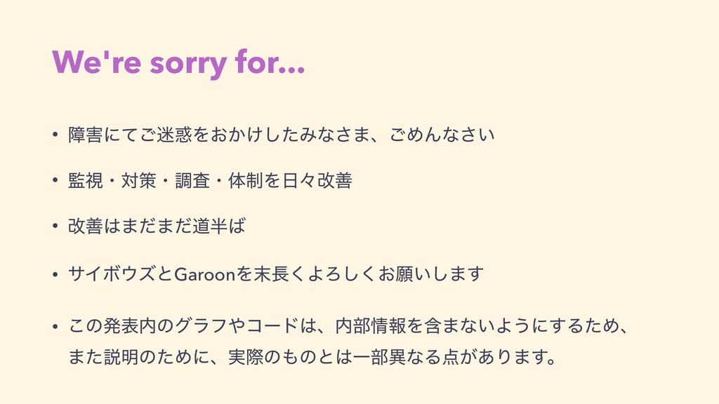 We're sorry for... • োʹͯ͝Λ͓͔͚ͨ͠Έͳ͞·ɺ͝ΊΜͳ͍͞  ...