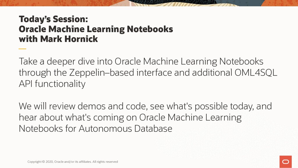 Today's Session: Oracle Machine Learning Notebo...