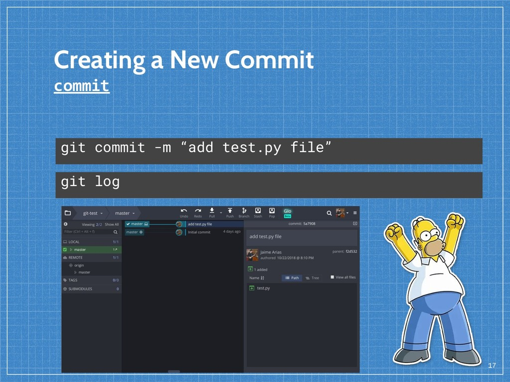 "Creating a New Commit commit 17 git commit -m ""..."