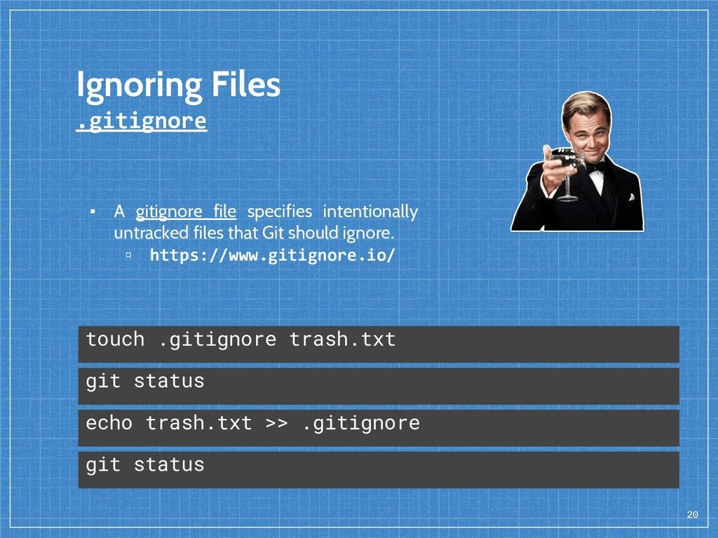 Ignoring Files .gitignore 20 echo trash.txt >> ...
