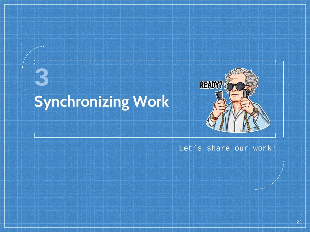 3 Synchronizing Work Let's share our work! 22