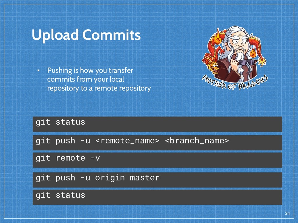 Upload Commits 24 git push -u <remote_name> <br...