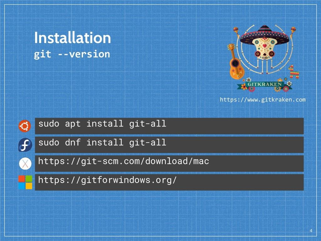 4 Installation git --version sudo apt install g...