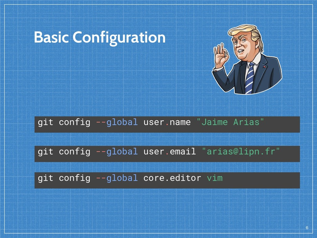 Basic Configuration 6 git config --global user....