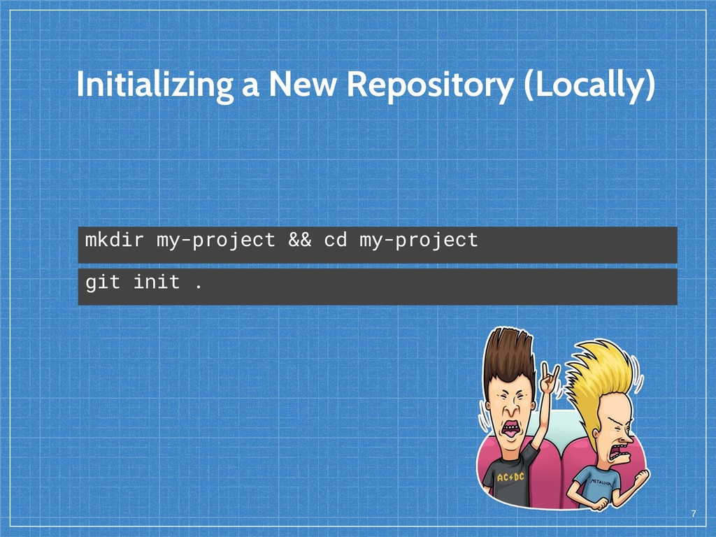 Initializing a New Repository (Locally) 7 mkdir...
