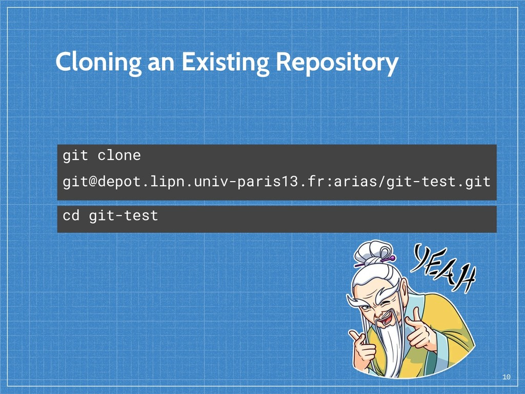 Cloning an Existing Repository 10 git clone git...