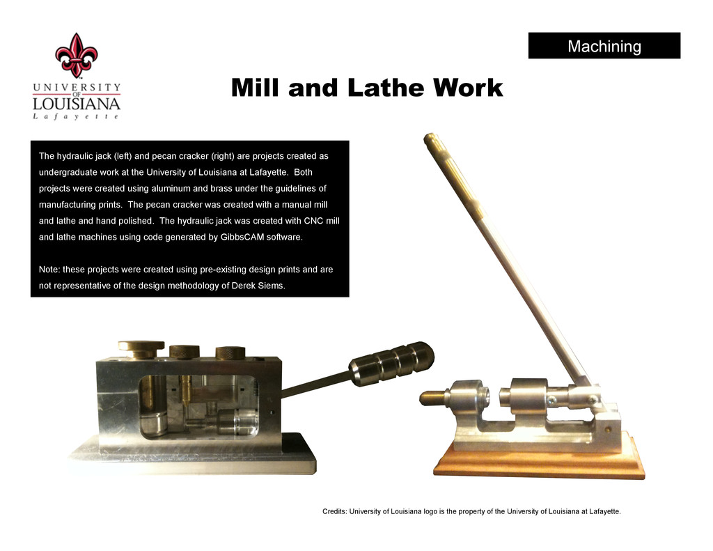 Mill and Lathe Work The hydraulic jack (left) a...