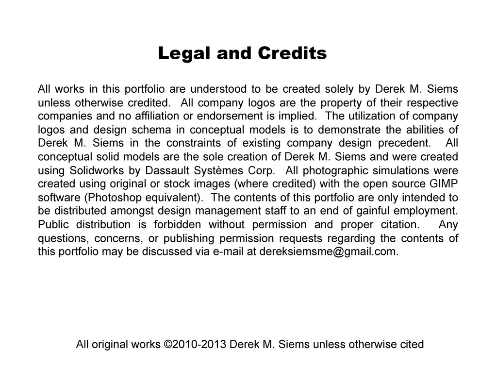 Legal and Credits All works in this portfolio a...