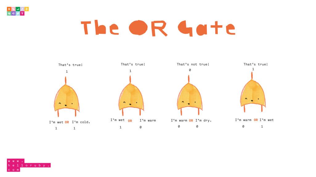 The OR Gate 1 1 1 I'm wet I'm cold. I'm wet I'm...