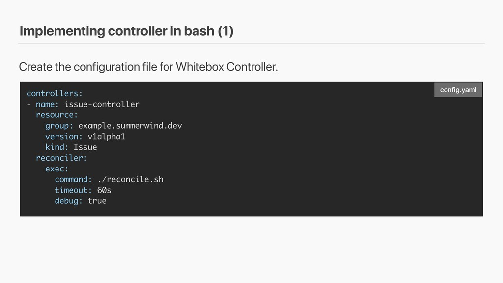 Implementing controller in bash (1) controllers...