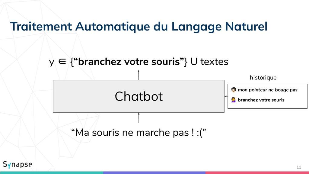 """11 Chatbot y ∈ {""""branchez votre souris""""} U text..."""
