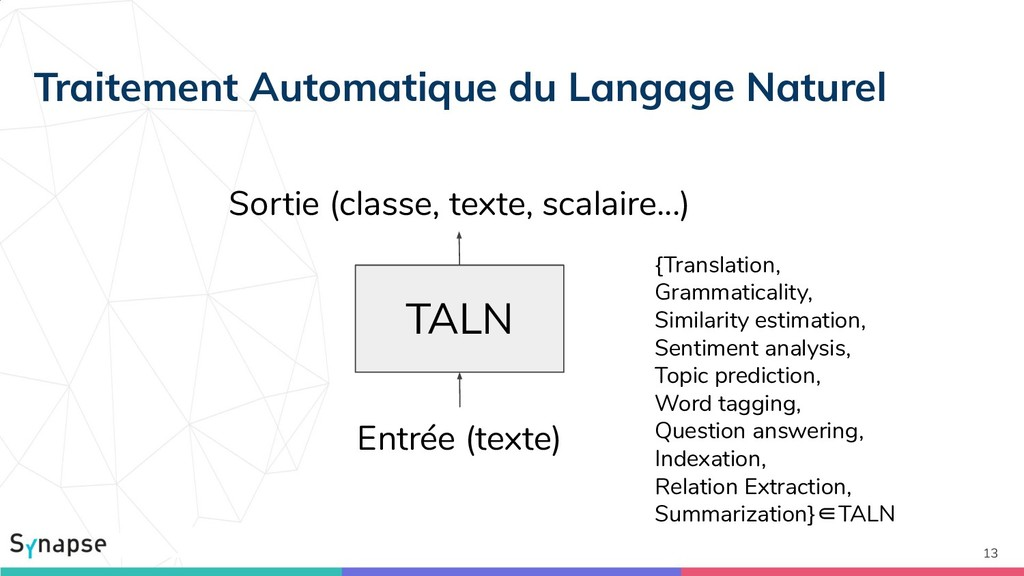 13 TALN Sortie (classe, texte, scalaire...) Ent...