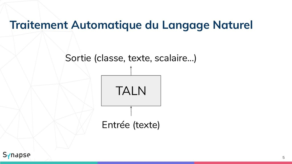 5 TALN Sortie (classe, texte, scalaire...) Entr...