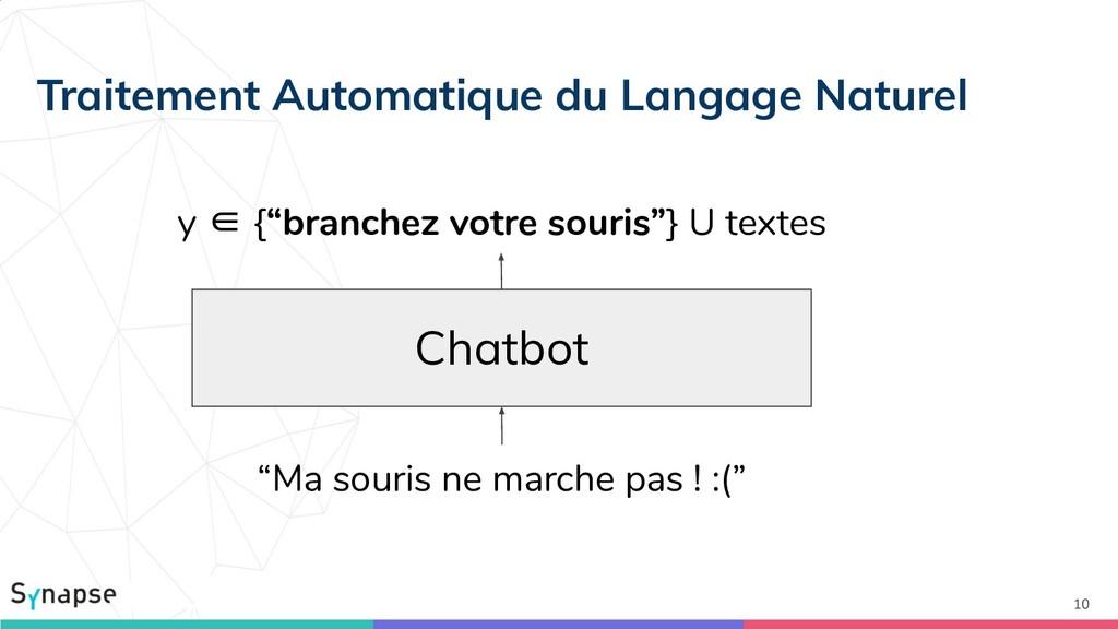"""10 Chatbot y ∈ {""""branchez votre souris""""} U text..."""
