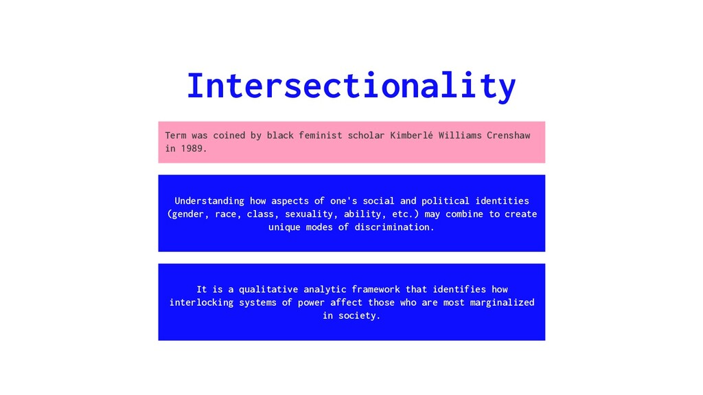 Intersectionality Understanding how aspects of ...