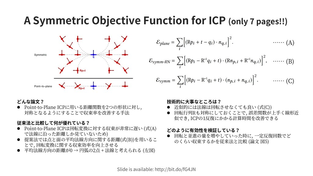 A Symmetric Objective Function for ICP (only 7 ...