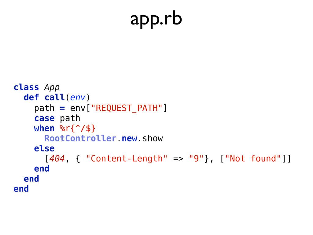 """app.rb class App def call(env) path = env[""""REQU..."""