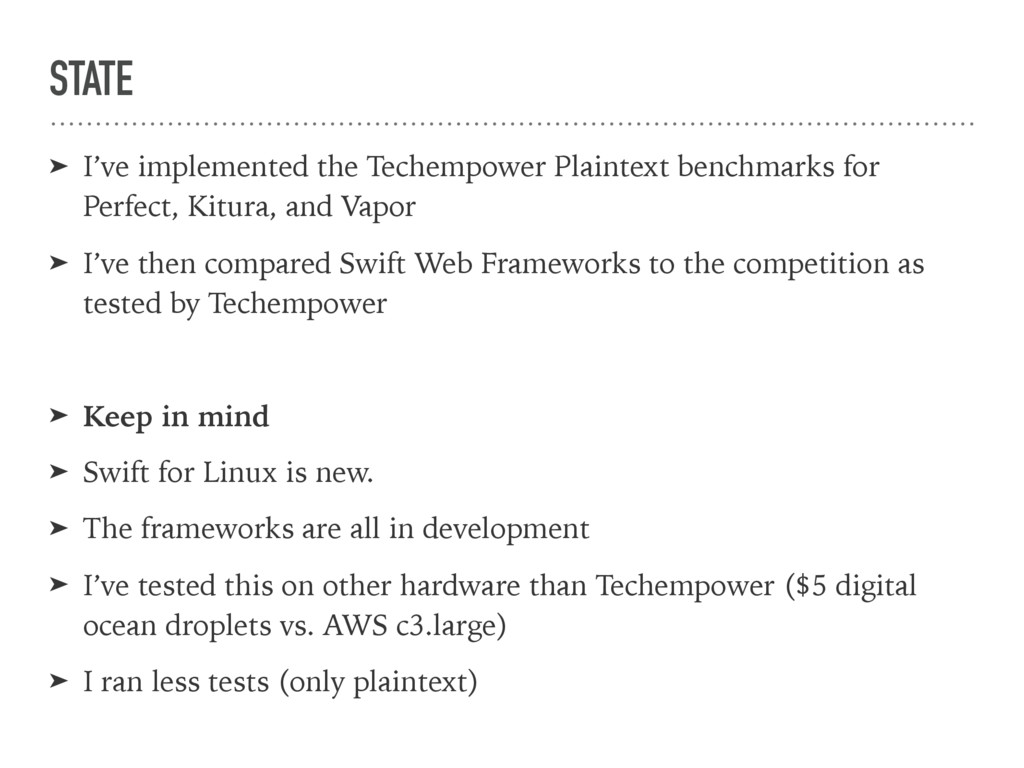 STATE ➤ I've implemented the Techempower Plaint...