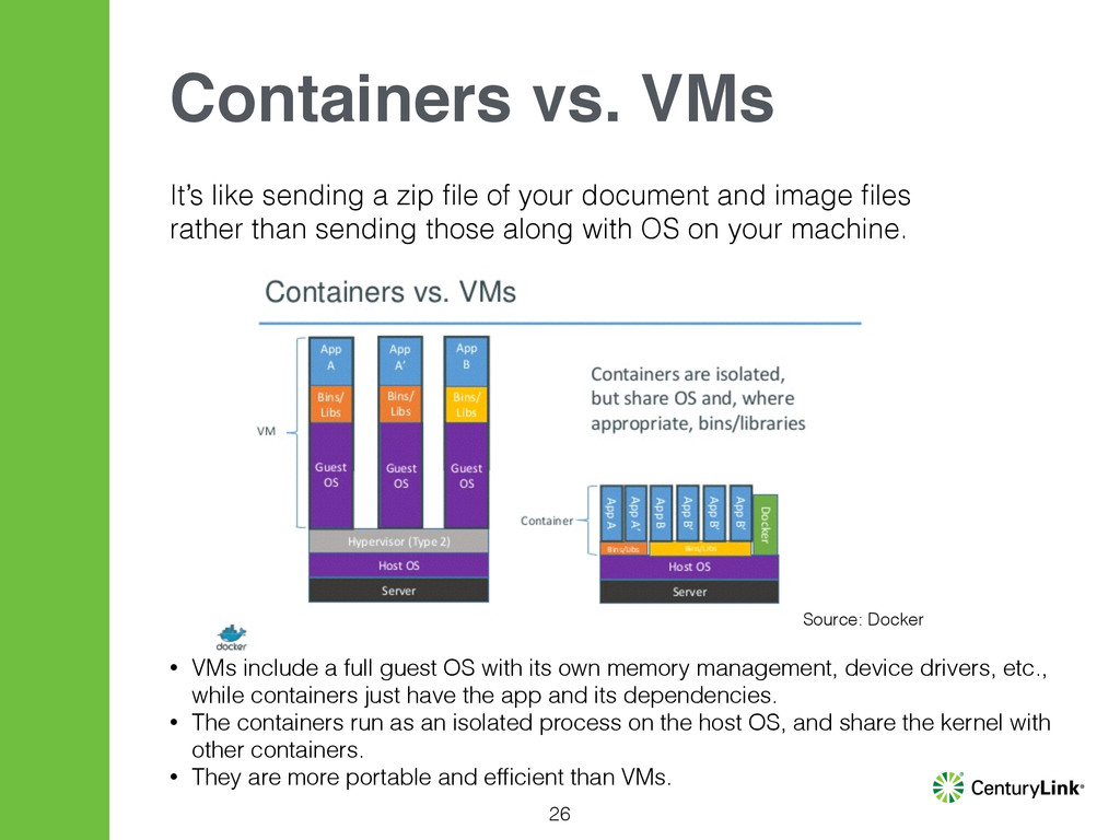 26 Containers vs. VMs • VMs include a full gues...