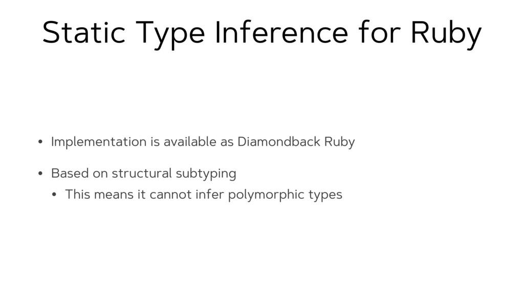 Static Type Inference for Ruby • Implementation...
