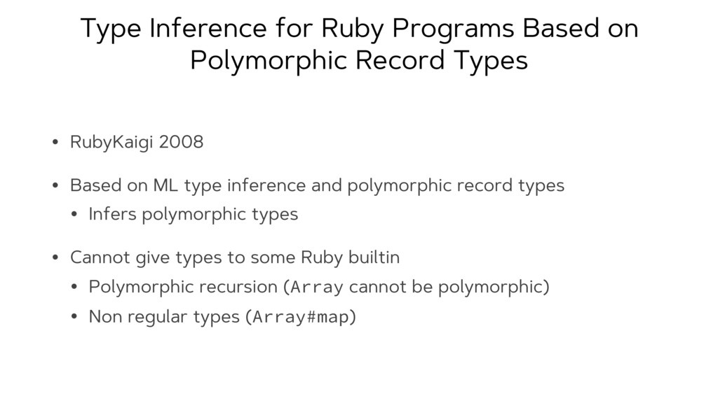 Type Inference for Ruby Programs Based on Polym...