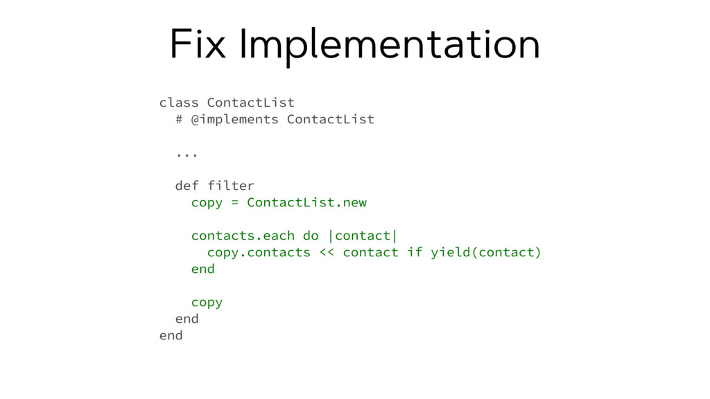 Fix Implementation class ContactList # @impleme...