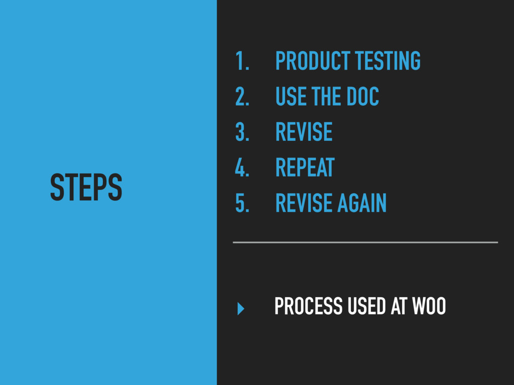 ‣ PROCESS USED AT WOO 1. PRODUCT TESTING 2. USE...