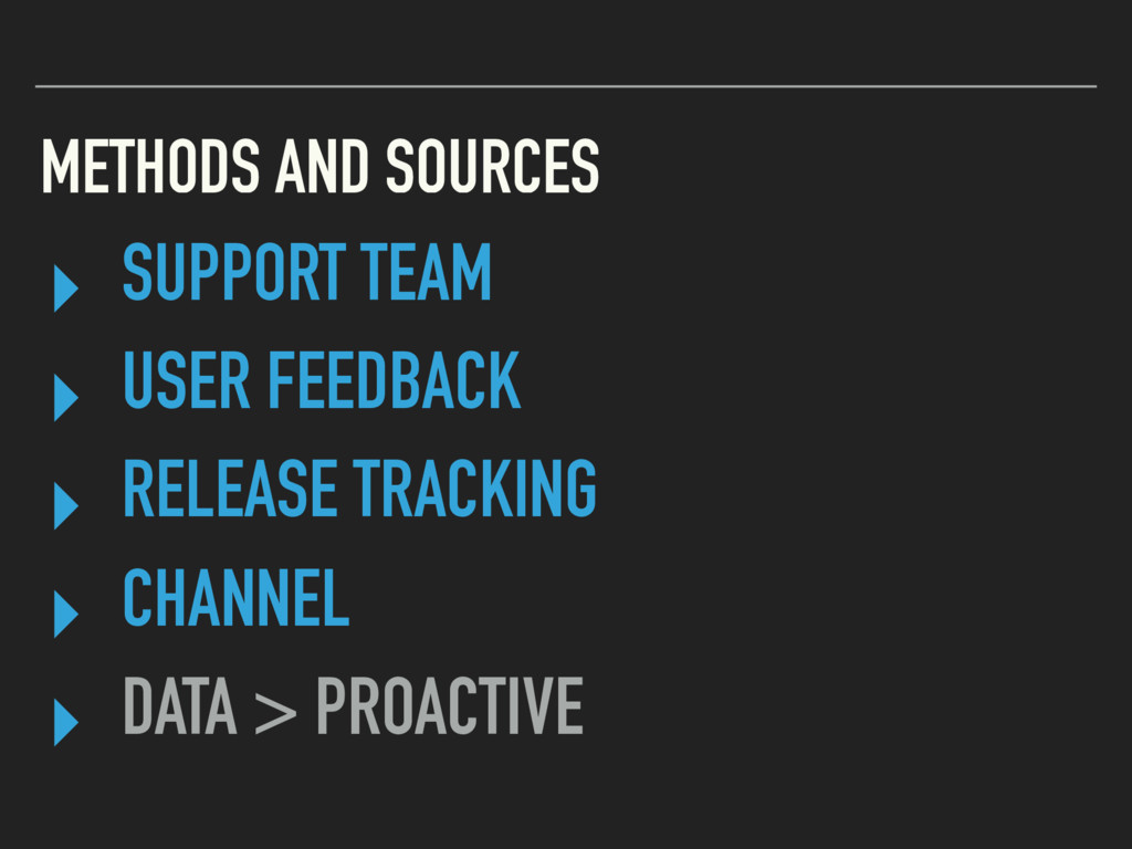 METHODS AND SOURCES ▸ SUPPORT TEAM ▸ USER FEEDB...
