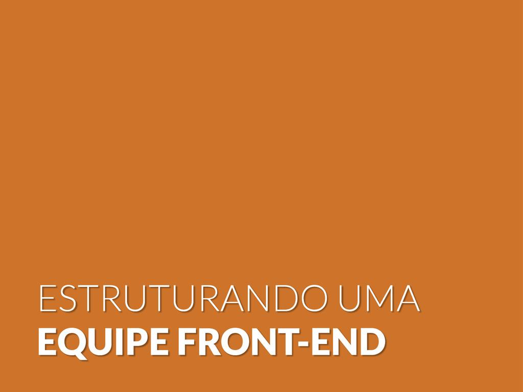 ESTRUTURANDO UMA EQUIPE FRONT-END