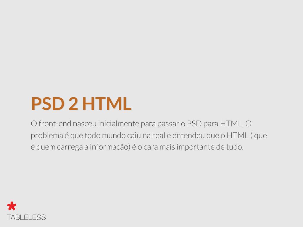 PSD 2 HTML O front-end nasceu inicialmente para...