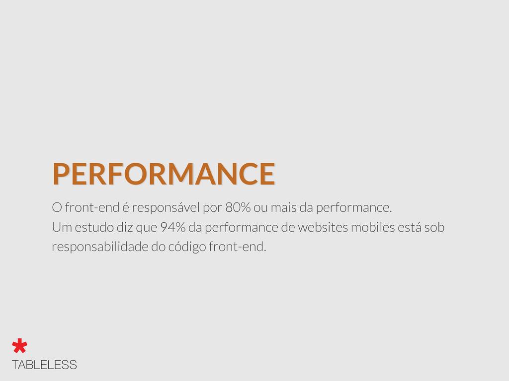 PERFORMANCE O front-end é responsável por 80% o...