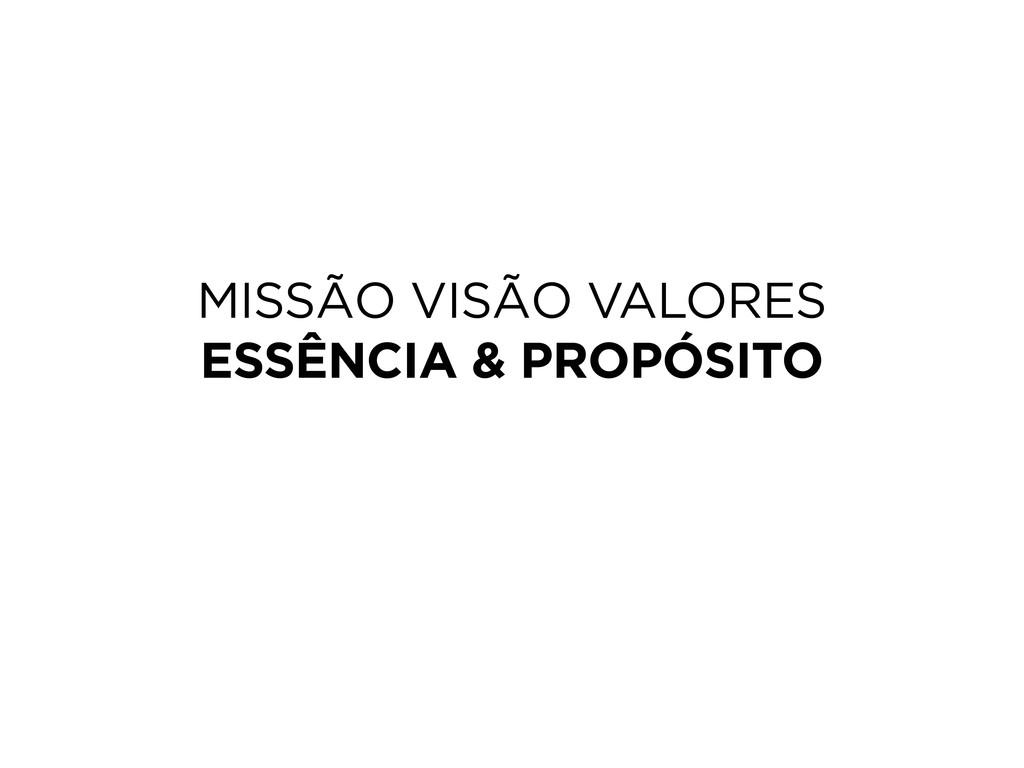 MISSÃO VISÃO VALORES ESSÊNCIA & PROPÓSITO