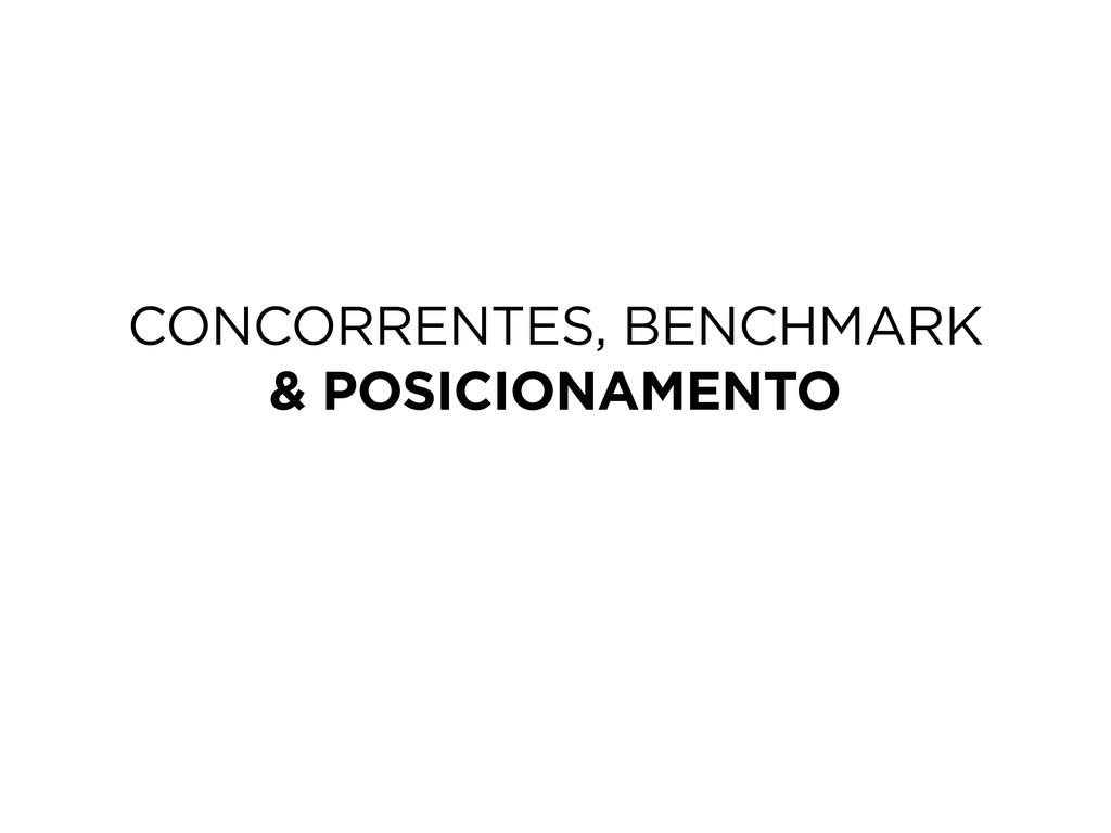 CONCORRENTES, BENCHMARK & POSICIONAMENTO
