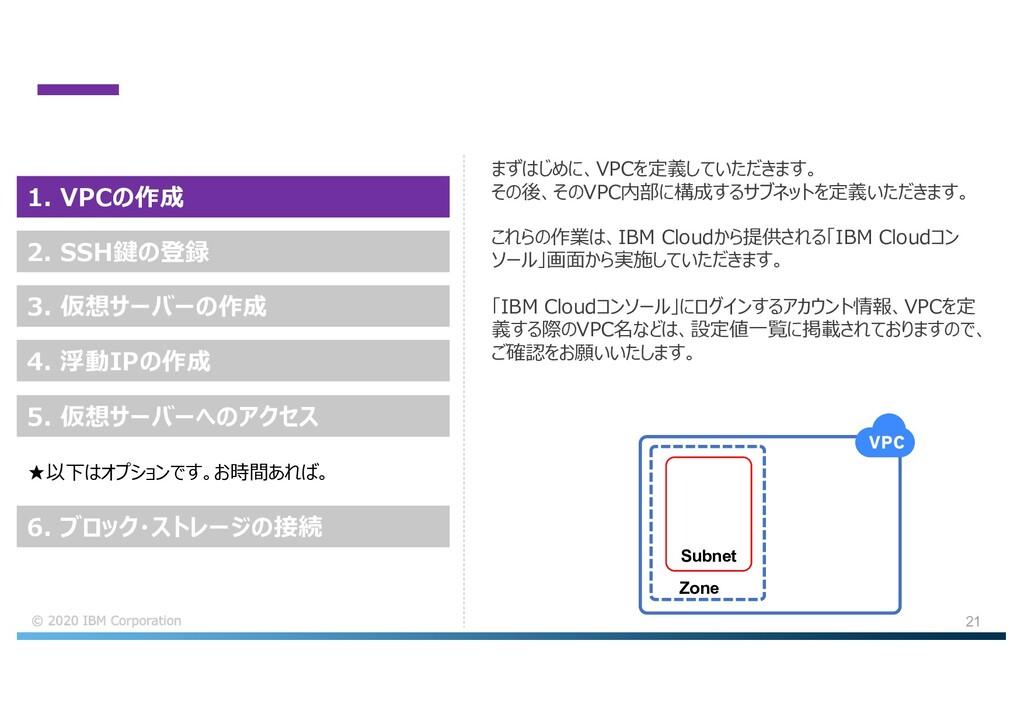 21 まずはじめに、VPCを定義していただきます。 その後、そのVPC内部に構成するサブネット...