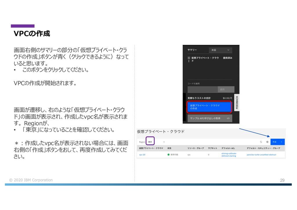 29 VPCの作成 画⾯が遷移し、右のような「仮想プライベート・クラウ ド」の画⾯が表⽰され、...