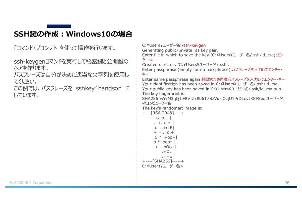 36 SSH鍵の作成︓Windows10の場合 「コマンド・プロンプト」を使って操作を⾏います...