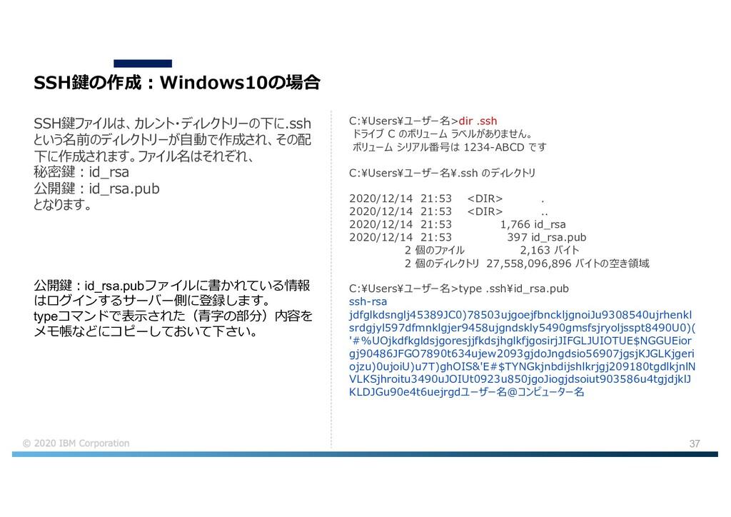 37 SSH鍵の作成︓Windows10の場合 SSH鍵ファイルは、カレント・ディレクトリーの...