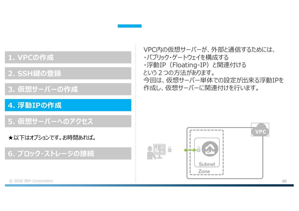 48 VPC内の仮想サーバーが、外部と通信するためには、 ・パブリック・ゲートウェイを構成する...