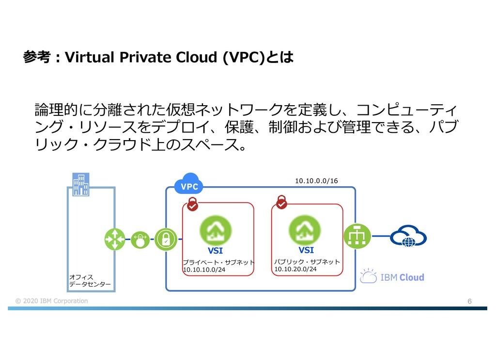 6 参考︓Virtual Private Cloud (VPC)とは 論理的に分離された仮想ネ...