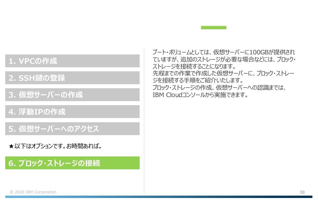 58 ブート・ボリュームとしては、仮想サーバーに100GBが提供され ていますが、追加のストレ...
