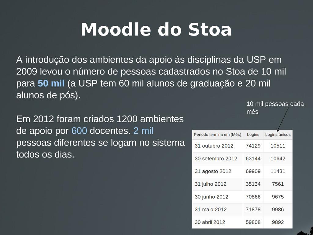 Moodle do Stoa A introdução dos ambientes da ap...