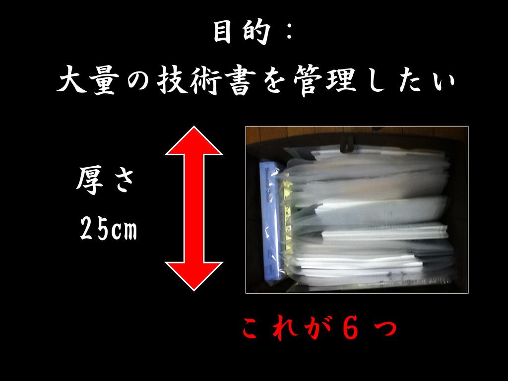 目的: 大量の技術書を管理したい 厚さ 25cm これが6つ