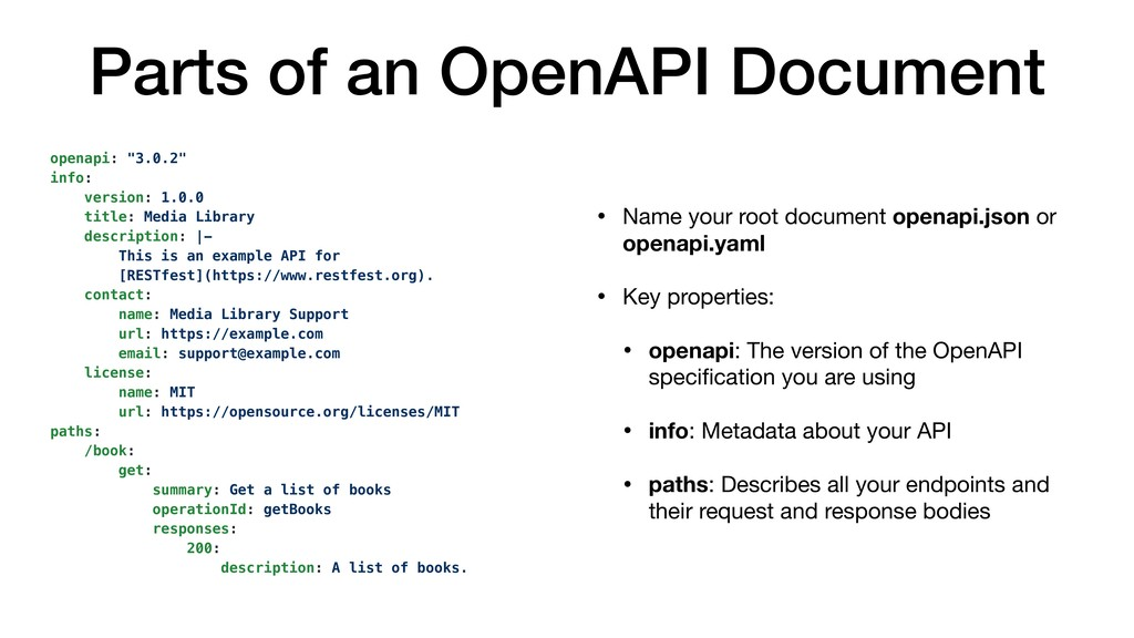Parts of an OpenAPI Document • Name your root d...