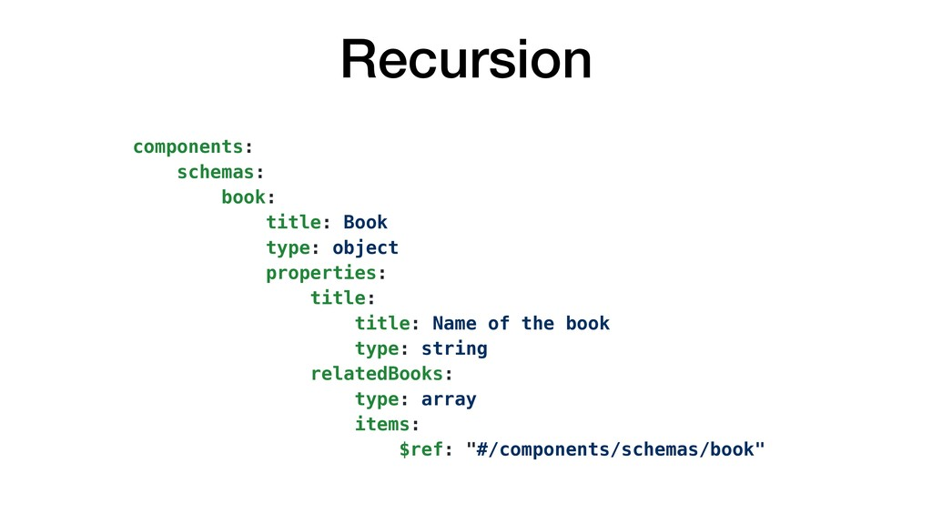 Recursion components: schemas: book: title: Boo...