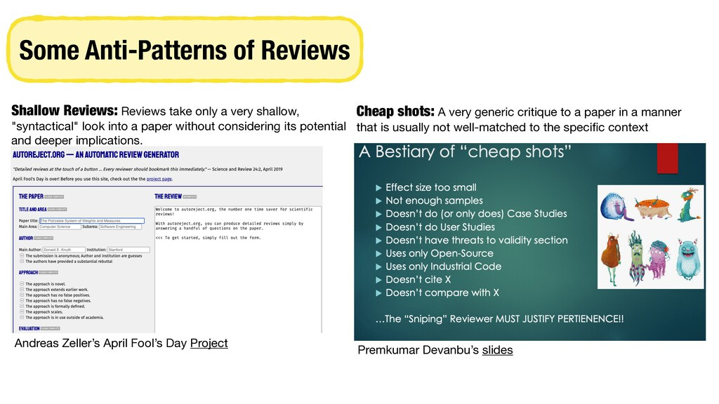 Some Anti-Patterns of Reviews Andreas Zeller's ...
