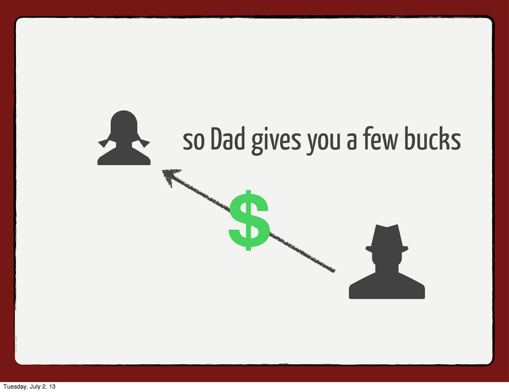 so Dad gives you a few bucks Tuesday, July 2, 13