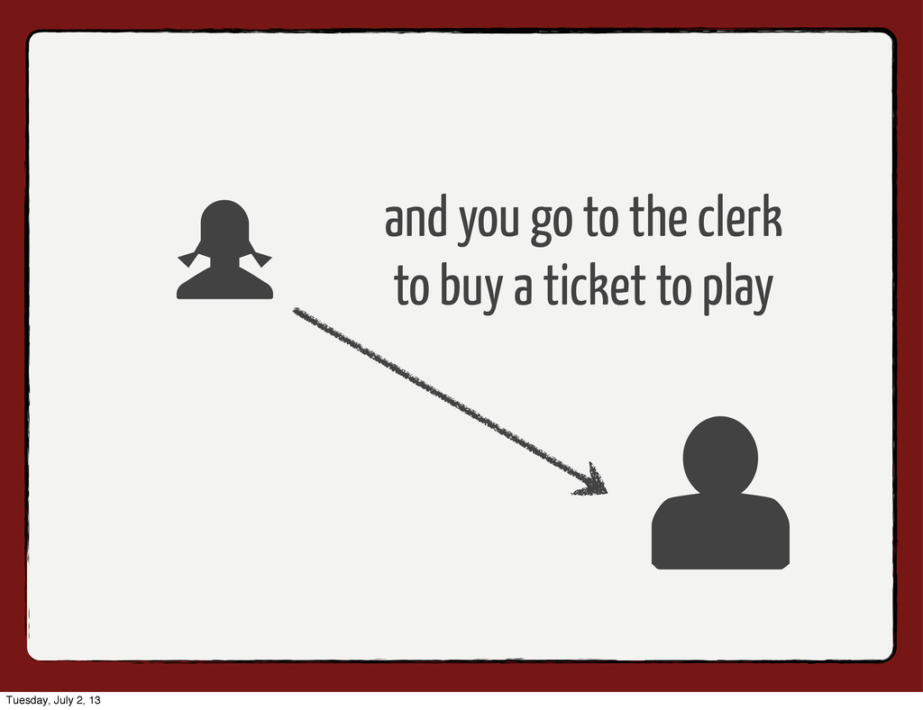 and you go to the clerk to buy a ticket to play...