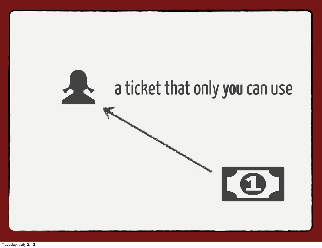 a ticket that only you can use Tuesday, July 2,...